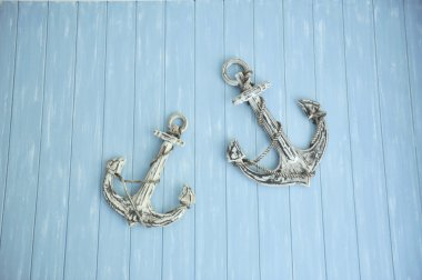 anchor in blue wall