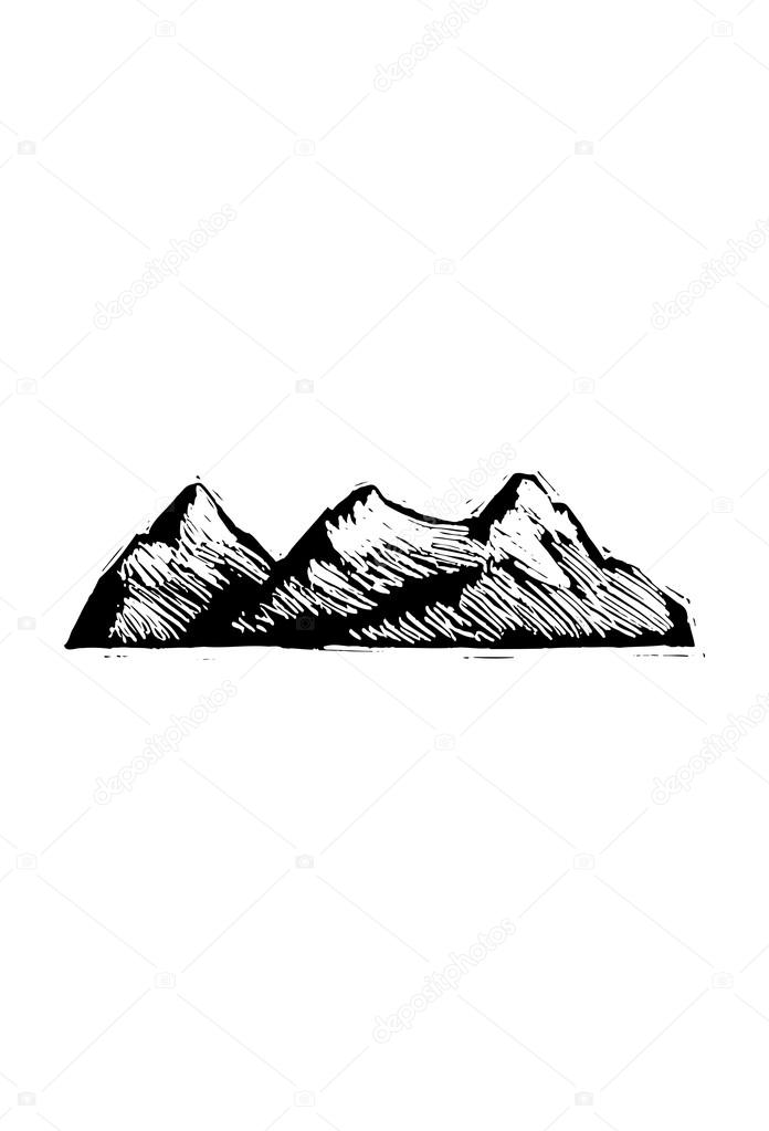 Vector illustration of rocky mountains