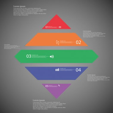 Rhombus infographic template horizontally divided to five color parts on dark background