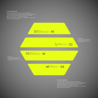 Hexagon illustration template consists of four green parts on dark background
