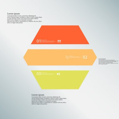 Hexagon illustration template consists of three color parts on blue background
