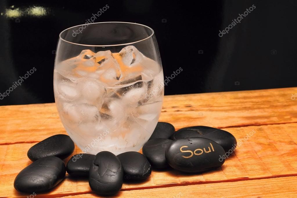 Lava stones and ice drink