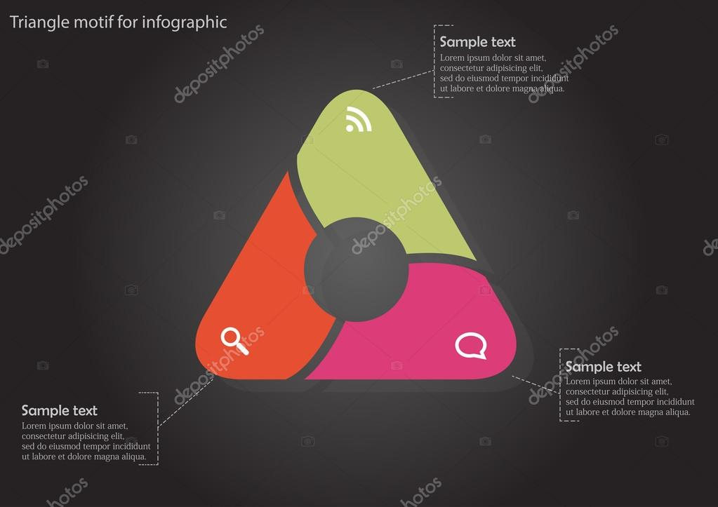 Infographic with color triangle with circle inside