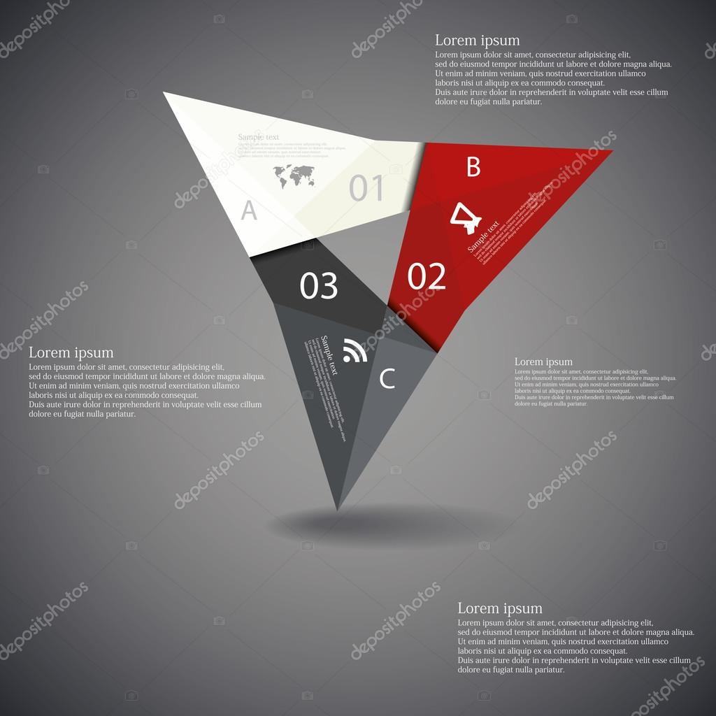 Illustration infographic with triangle origami motif