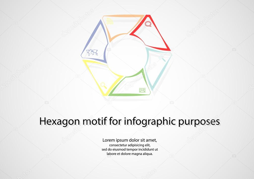 Hexagonal infographic consits of lines on light