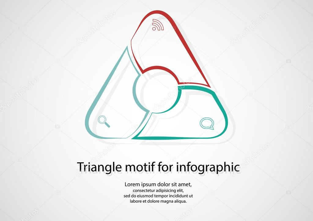 Triangle infographic consits of lines on light
