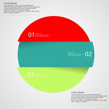 Infographic template with circle divided to three parts on light