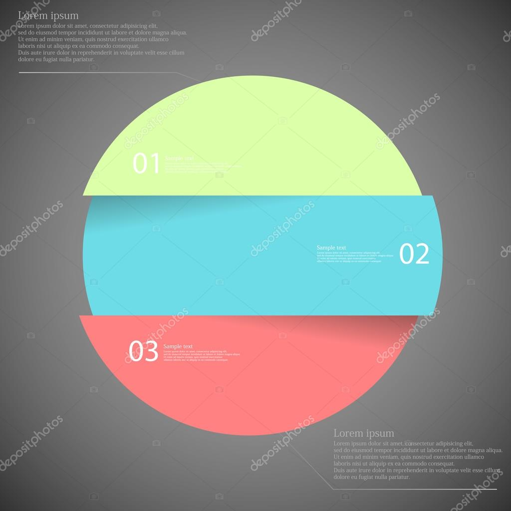Infographic template with circle divided to three parts on dark