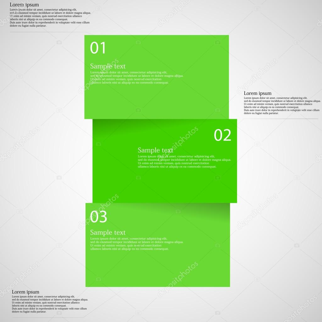 Infographic template with bar divided to three parts on light