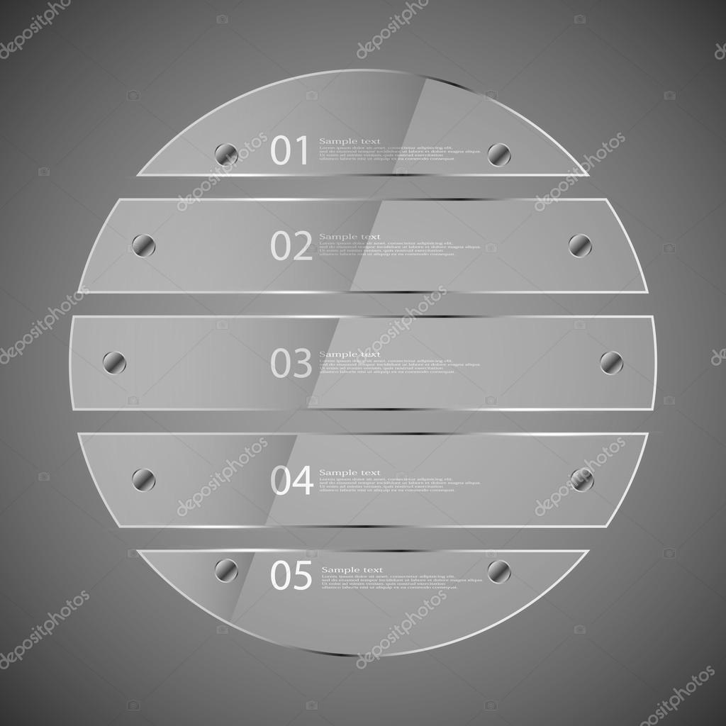 Glass circle divided to five parts infographic template on grey