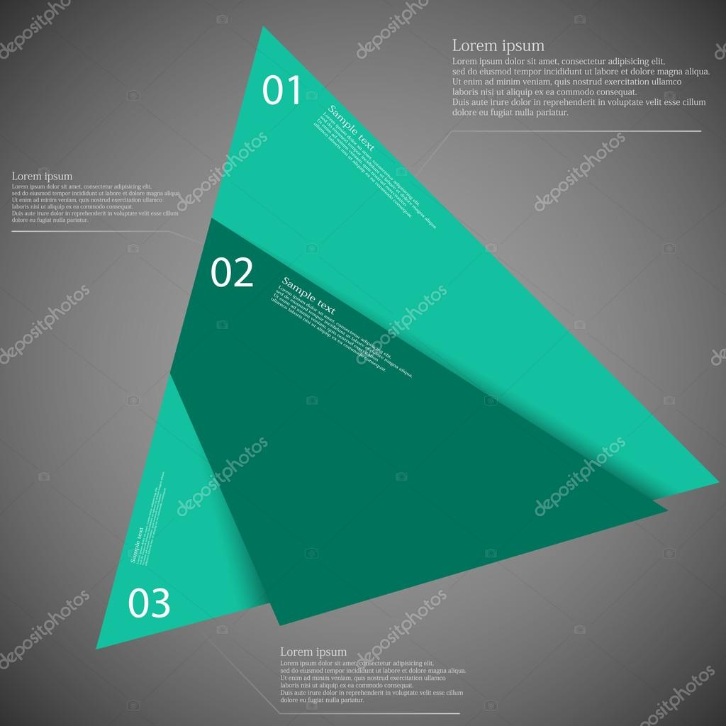Triangle infographic template divided to three blue parts