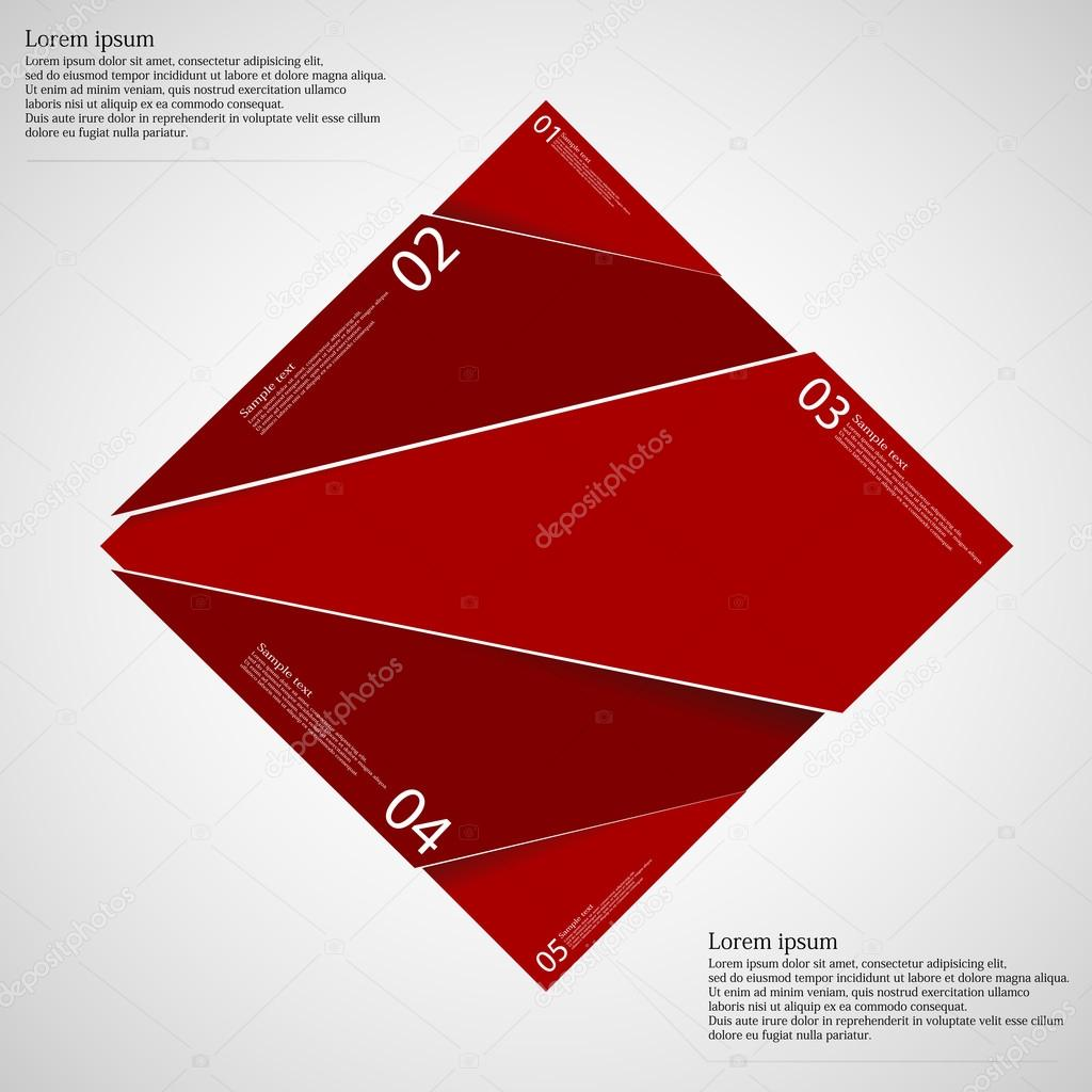 Rectangle infographic template divided to five red parts