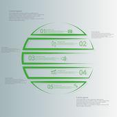 Kruh infographic šablony ve vodorovném směru rozděleny do pěti částí osnovy zelené