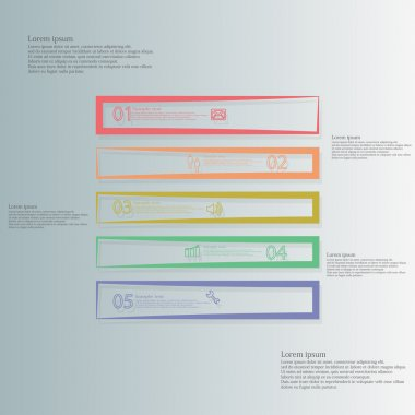 Square illustration template horizontally divided to five color contour elements