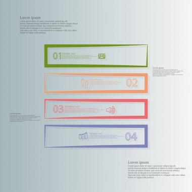 Square illustration template horizontally divided to four color contour elements