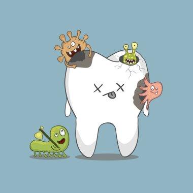 cartoon sick tooth