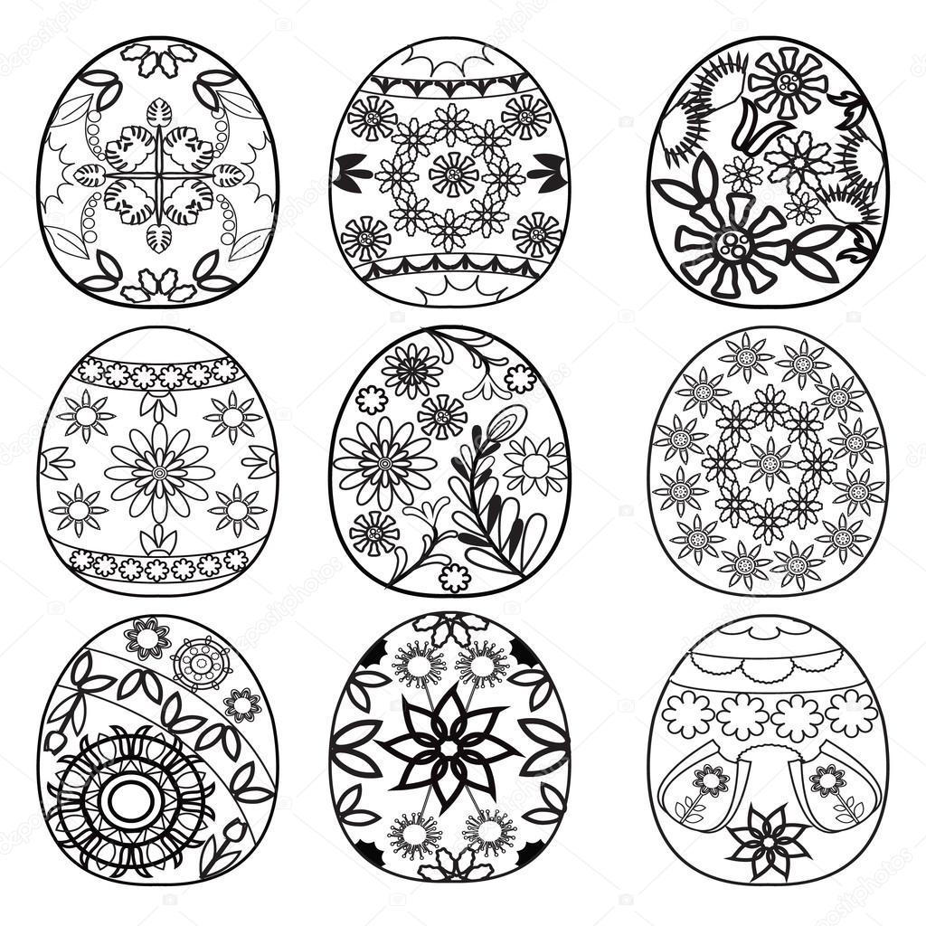 huevos de Pascua para colorear libro — Vector de stock © margolana ...