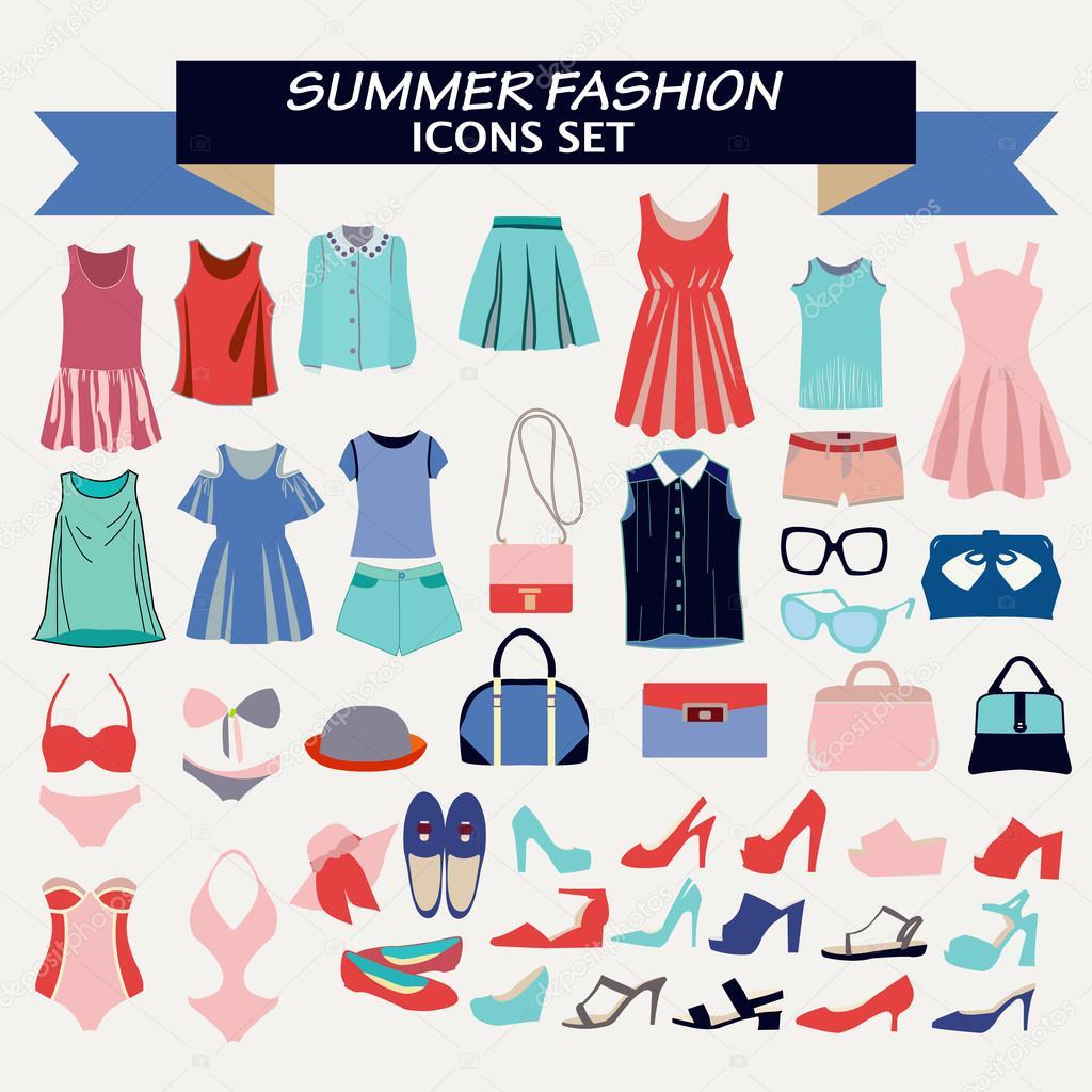 76e673f0c3b4 Collezione di moda di abbigliamento donna e accessori per l estate– illustrazione  stock