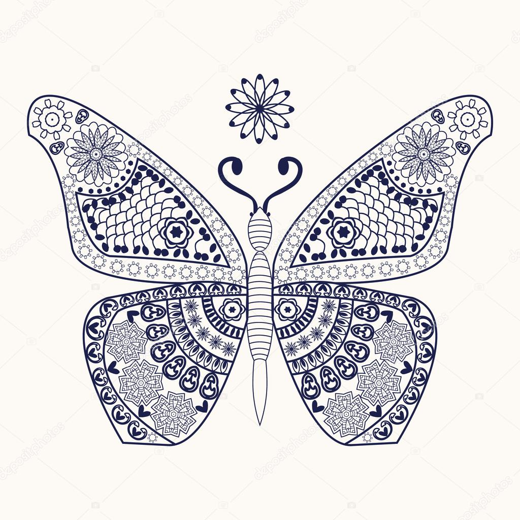 Kelebek Boyama Sayfası Için Stok Vektör Margolana 106741446