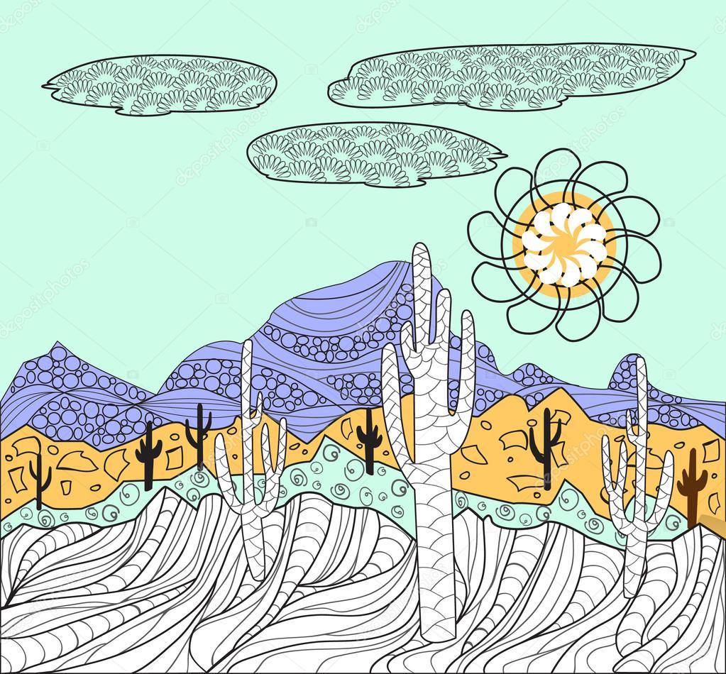 Imágenes Paisaje Mexicano Para Dibujar Paisajes Con Cactus Y