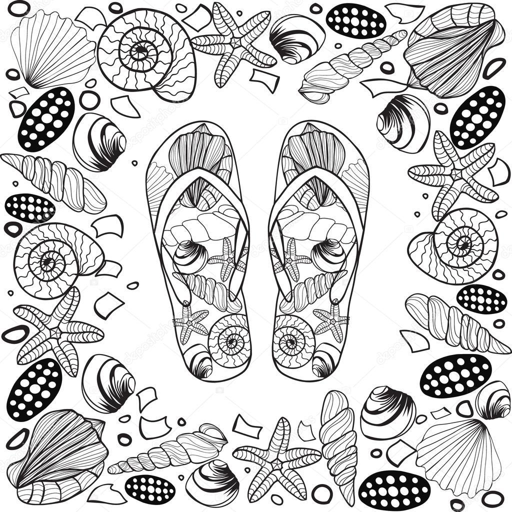 Marco de frontera de concha de dibujado a mano con Flip flop ...