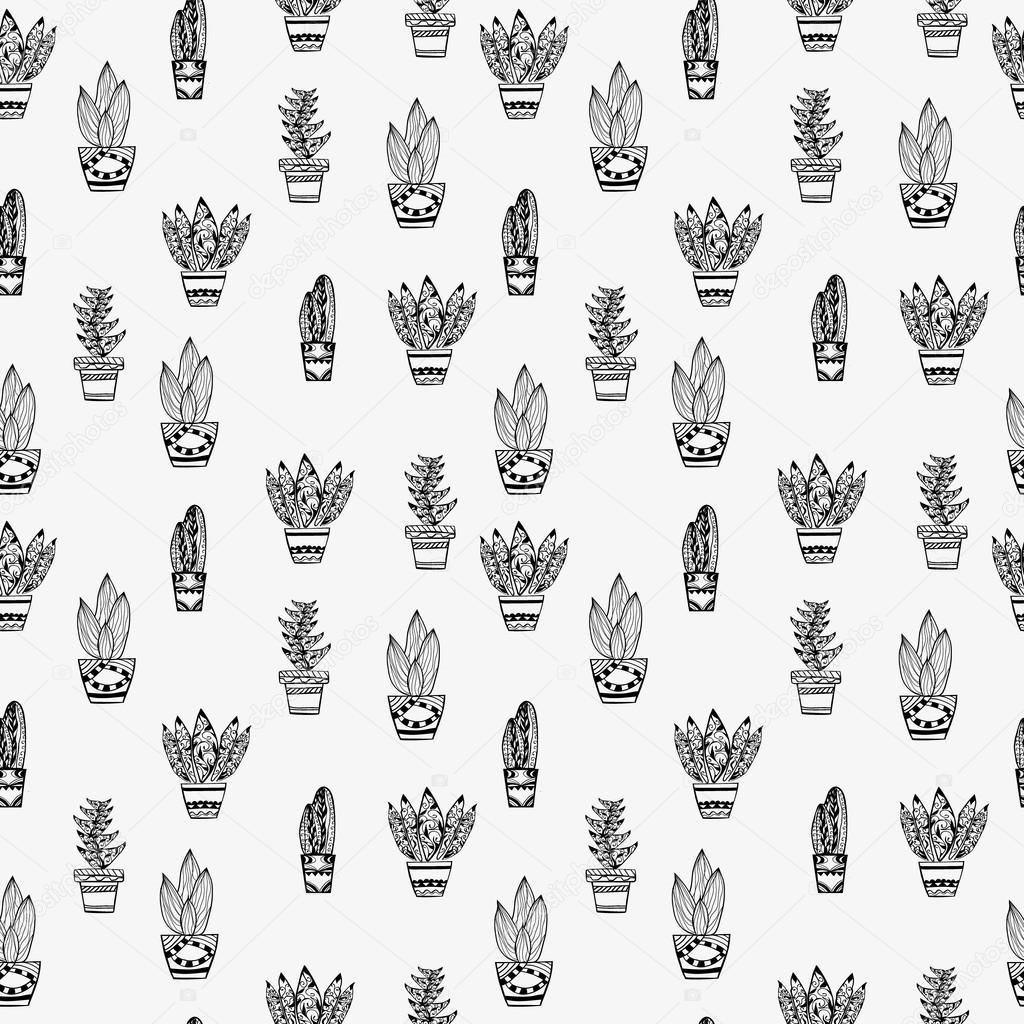 Pattern Of Tropical Plants In Pot Zentangle Style Cactus Stock