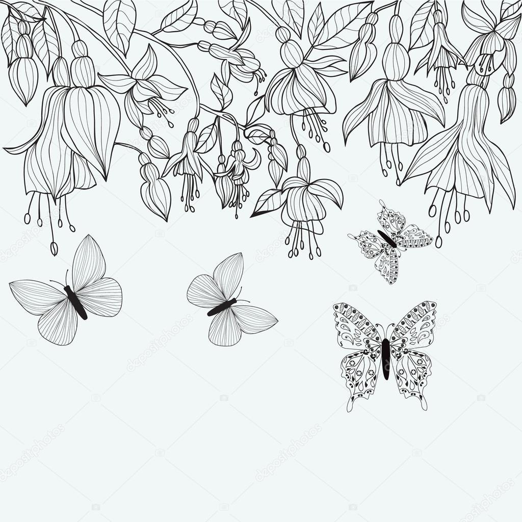 Textura de dibujado a mano con flores fucsia y mariposas — Vector de ...