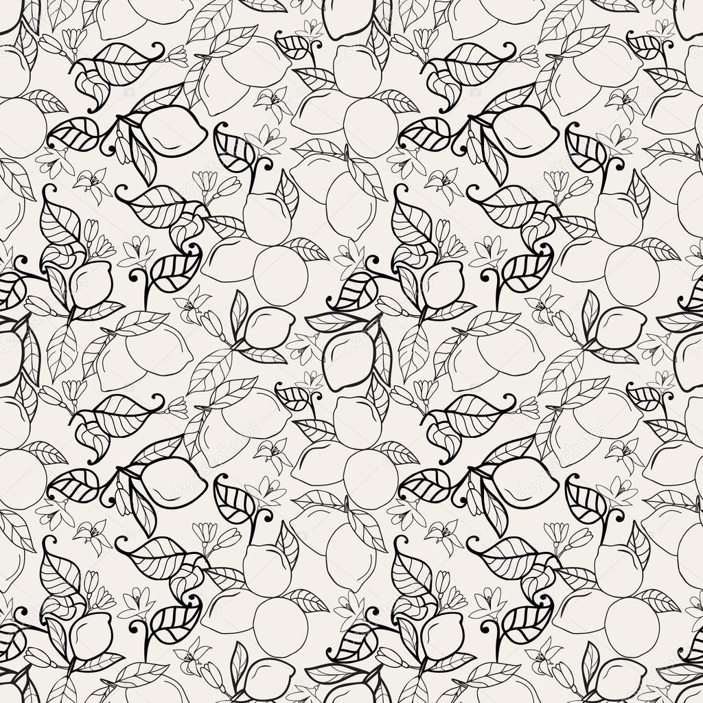 mano dibujadas limones con hojas de patrones sin fisuras en blanco ...