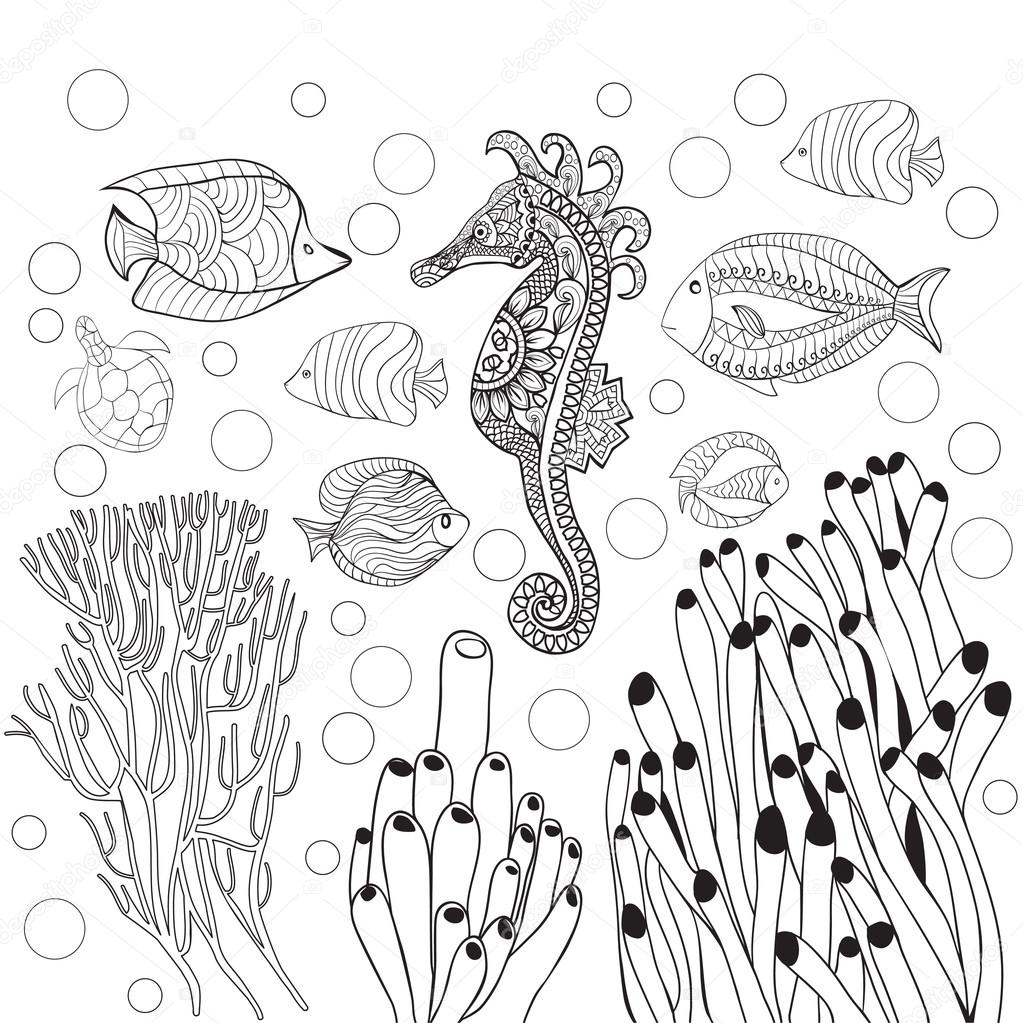 Coloring page with underwater world sea life, fishes,sea horse ...