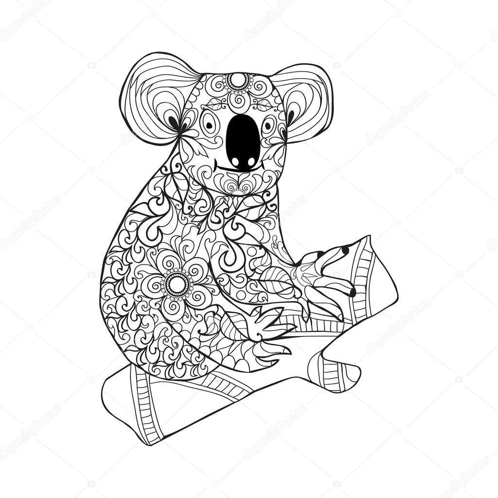 Koala. Animal de doodle dibujado mano blanco negro por página para ...