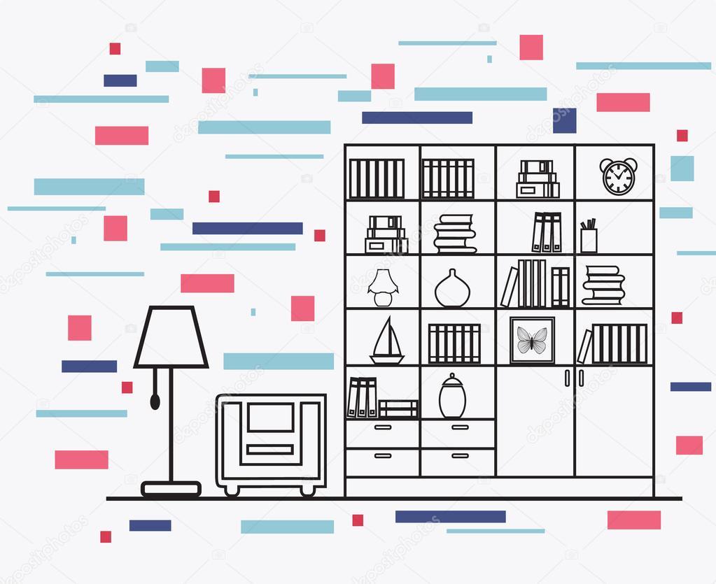 linearen flachen Innenarchitektur Darstellung der modernen Designer ...