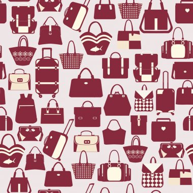 Vector pattern of  collection with fashinable bags -illustration