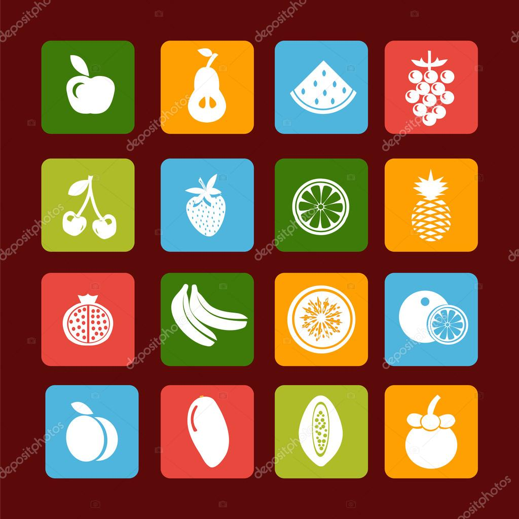 Vector fruit icon set - Illustration