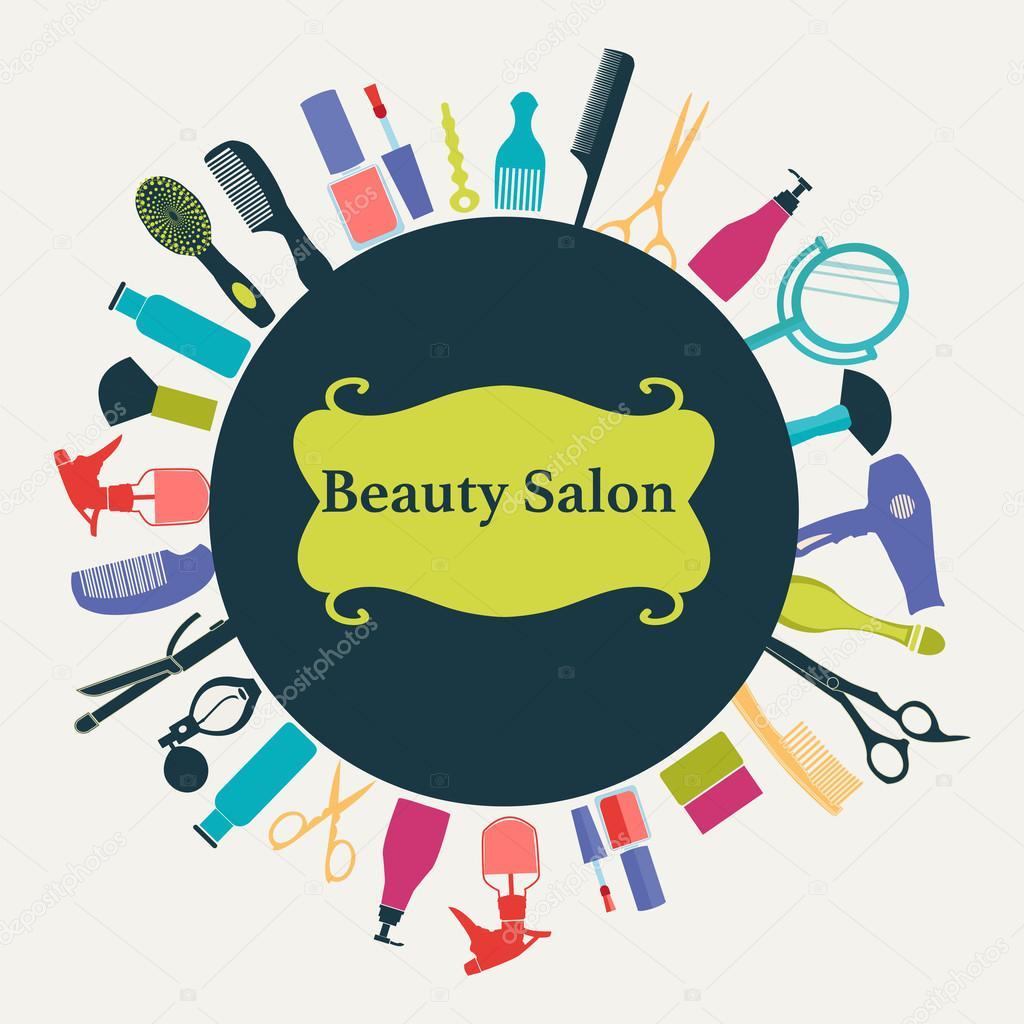 Nails Art Beauty Salon Background Stock Vector: Hair Beauty Salon Background-illustration