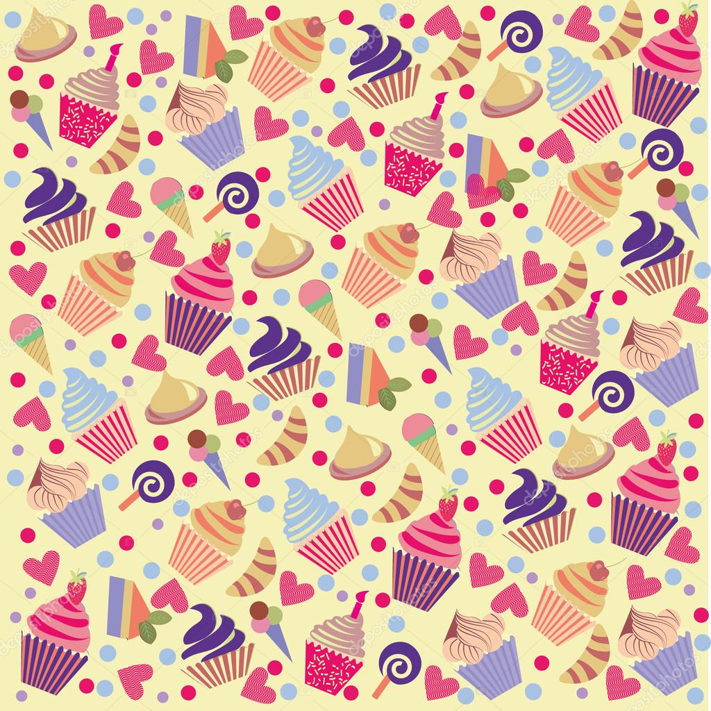 Pattern Cute Colorful Ice Cream Textiles Stock Vector: Colorful Cute Pattern Background With Cupcakes