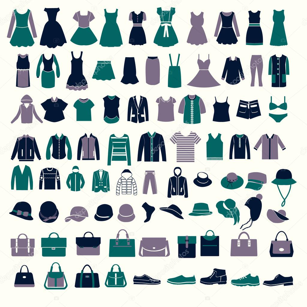 set silhouettes of fashion collection s and