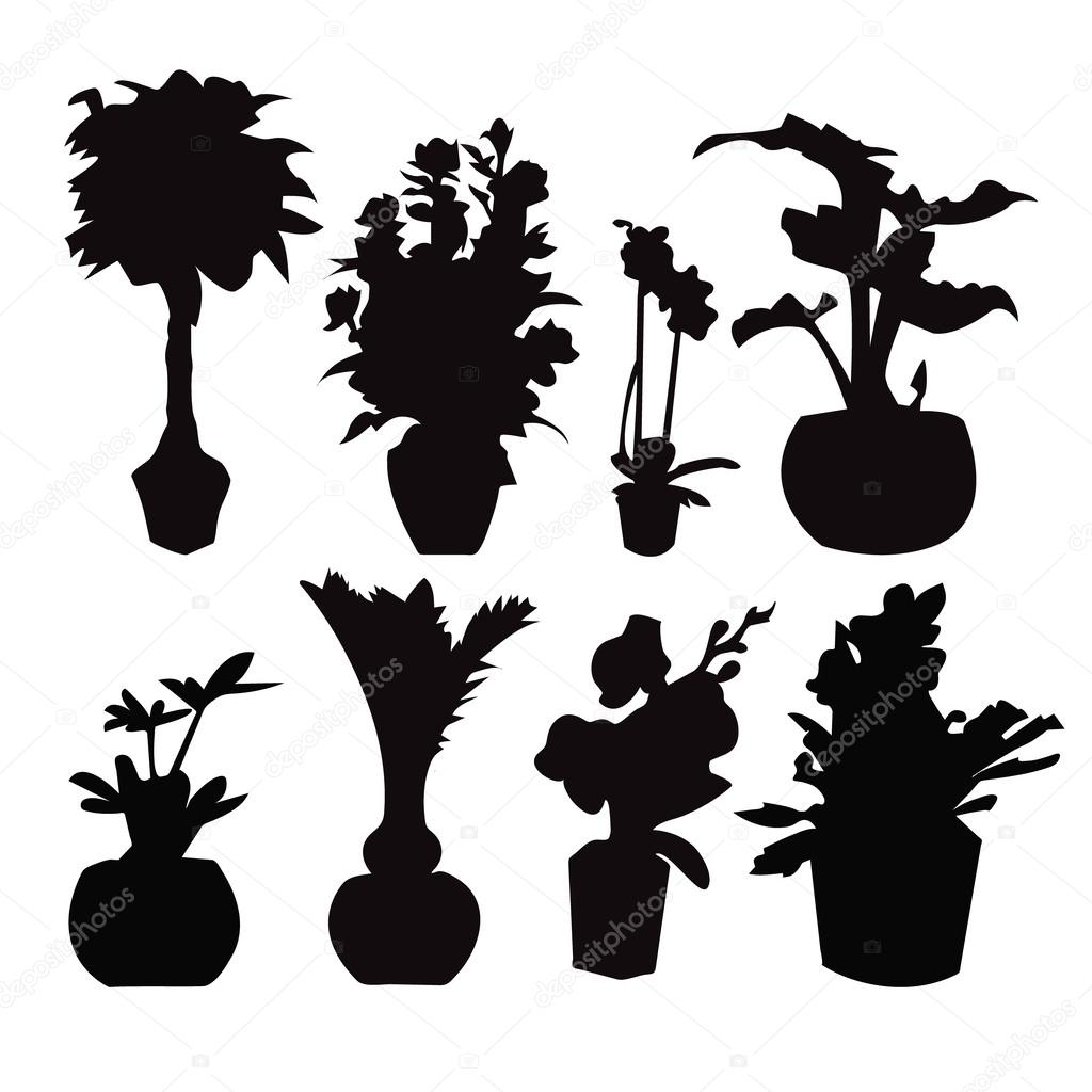Potted plant silhouette collection