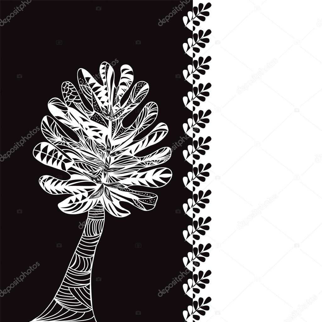 Monstera leaves pattern black and white