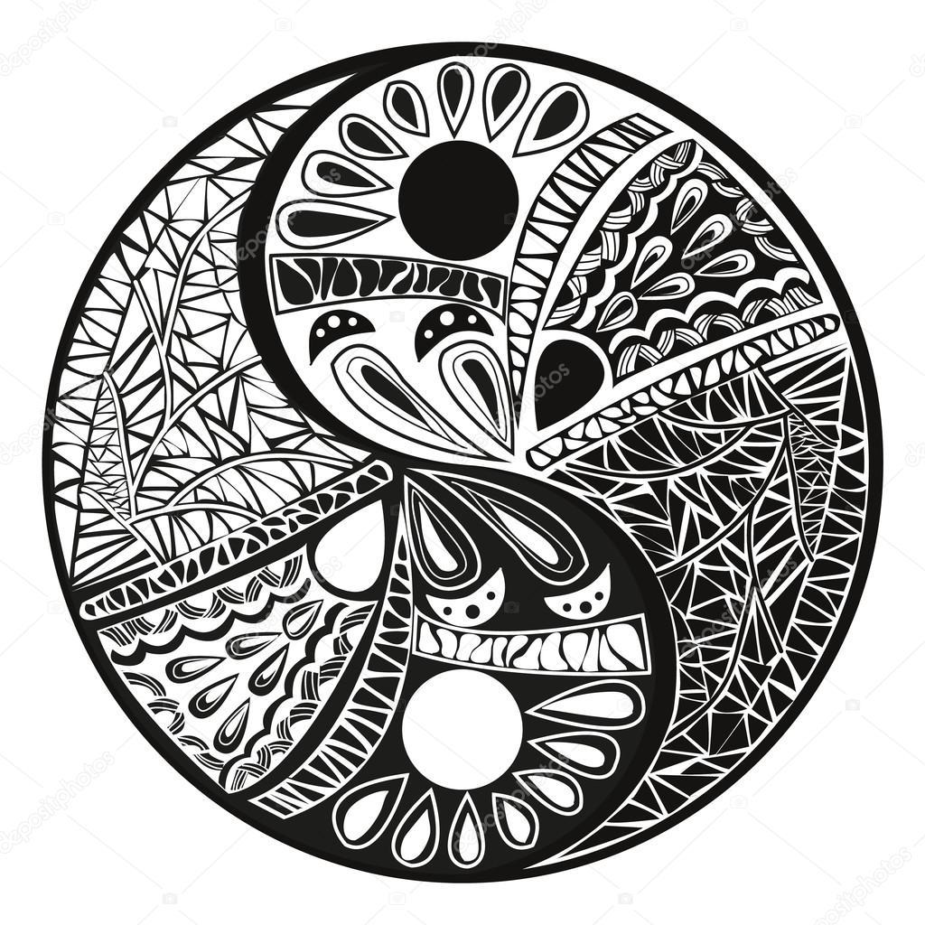 Tattoo Designs Yin Yang Symbol: Yin Yang Tattoo For Design Symbol Vector Illustration