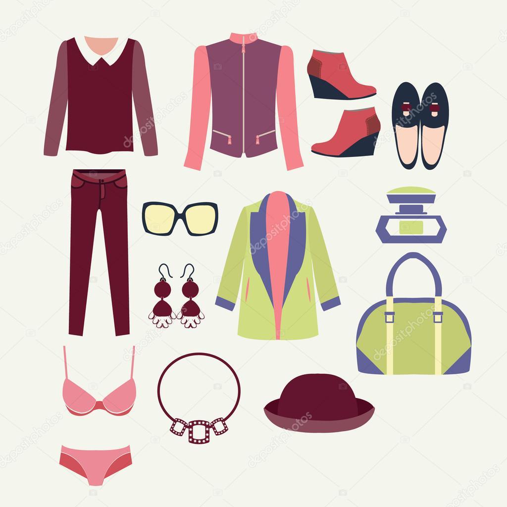 136f6b7d3 Vectores fashion ropa y accesorios para mujeres para el look de moda de  diseño - ilustración — Vector de ...
