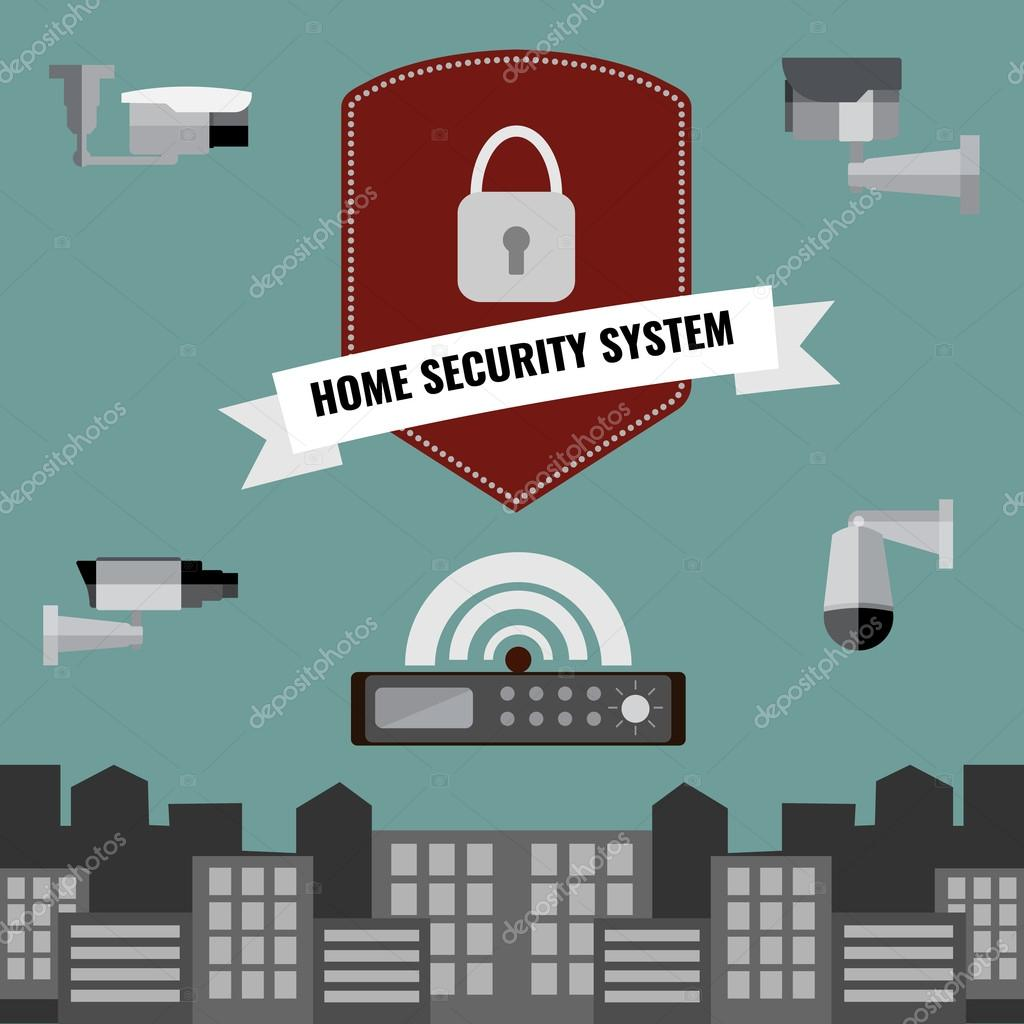 Home Security Cctv Cam System Design U2014 Stock Vector