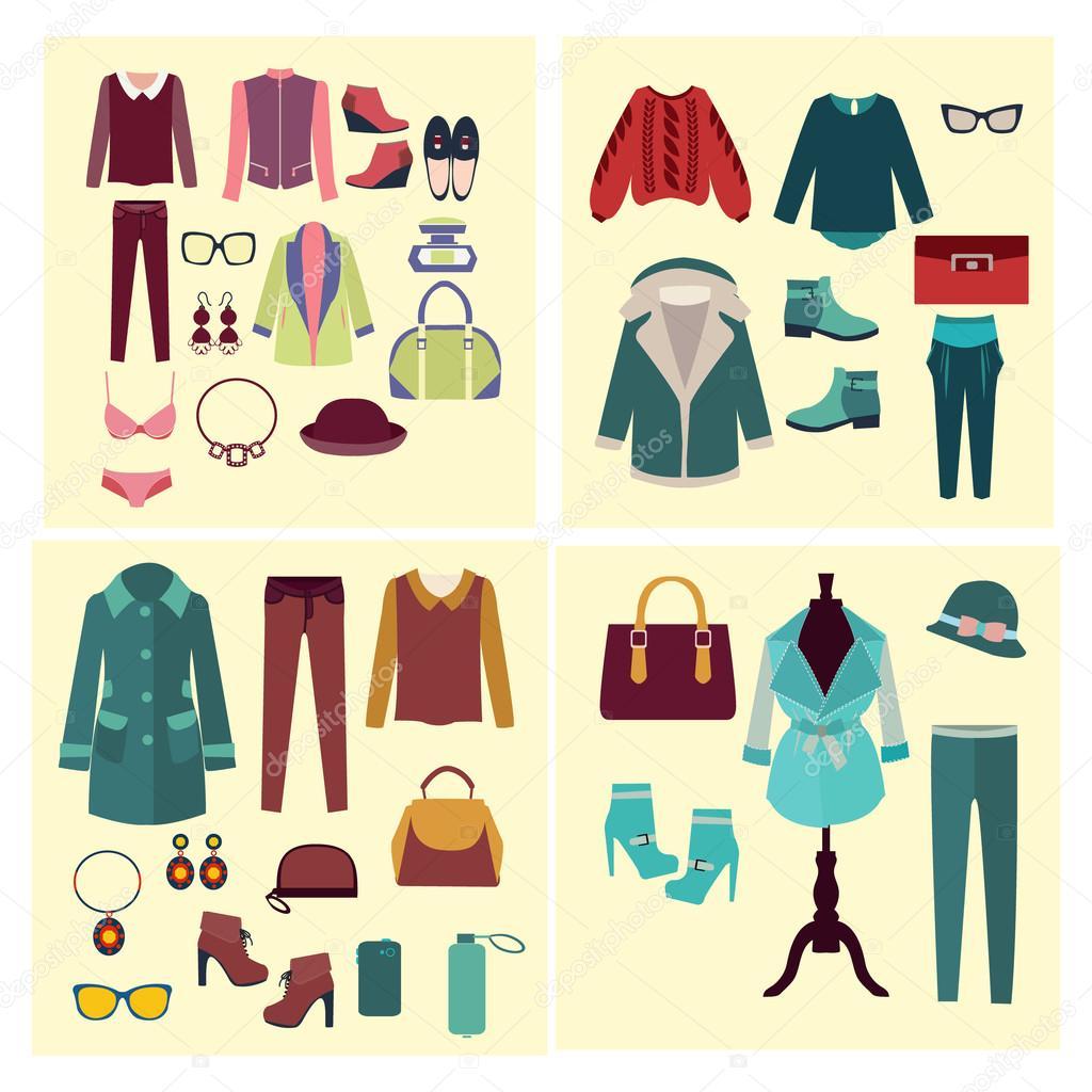 c9a2d0b555b8 Vettoriale moda abiti e accessori per le donne per look di moda design -  illustrazione — Vettoriali di ...