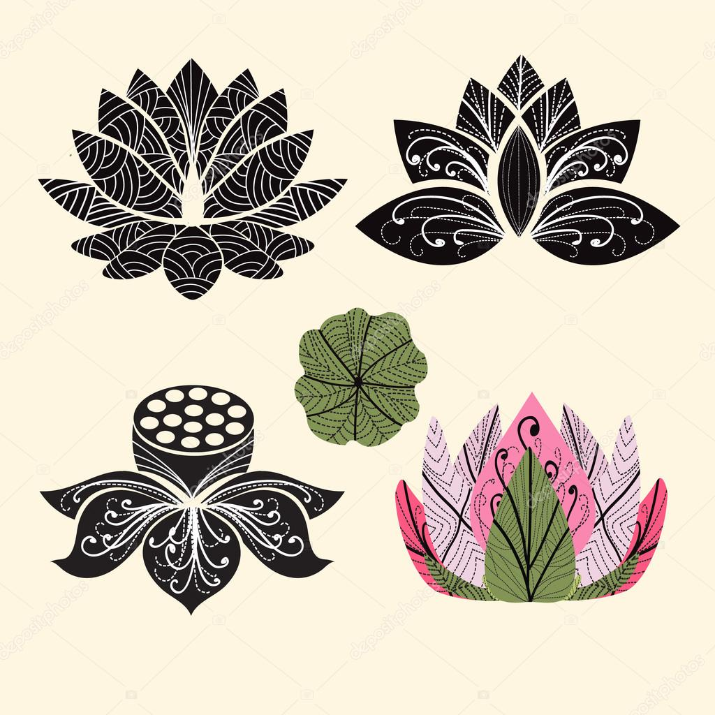 Vector Lotus flowers silhouettes.