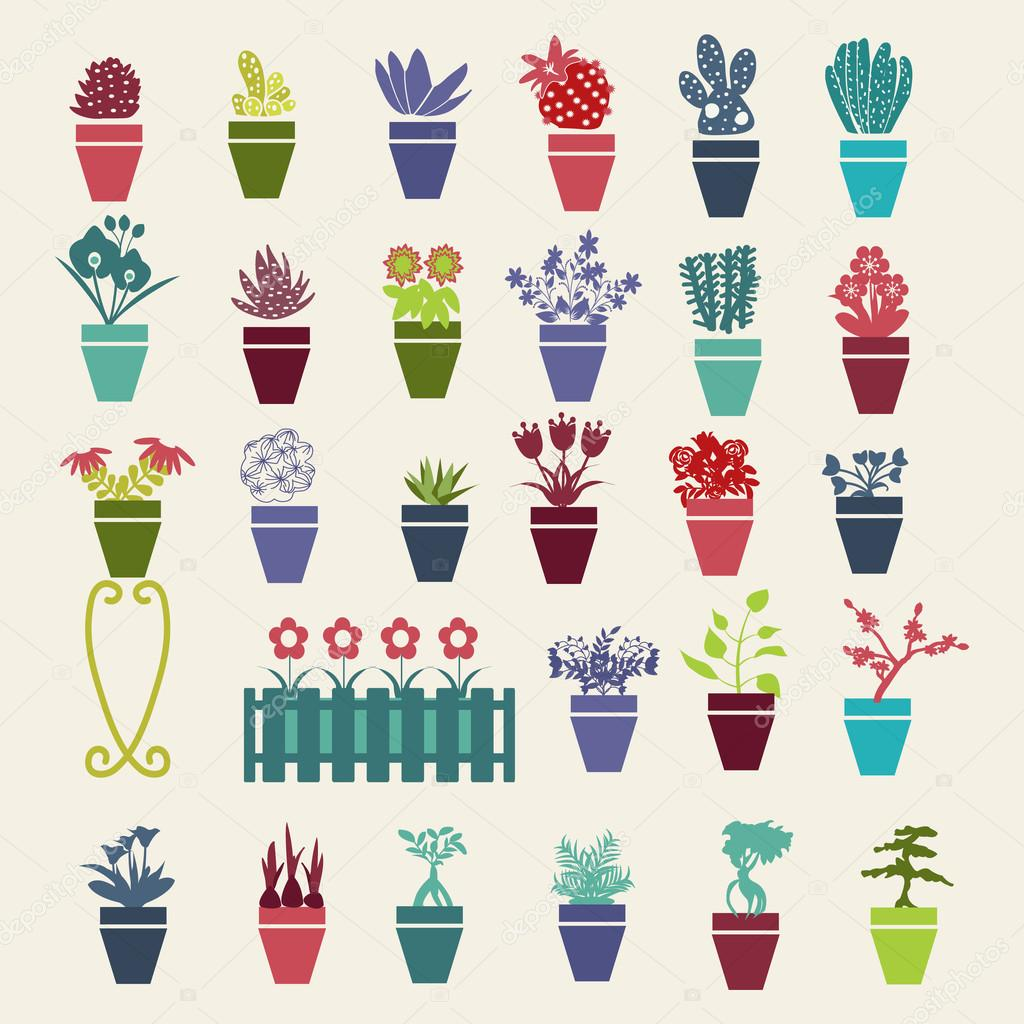 garden flowers  and  herbs pot plants icons set