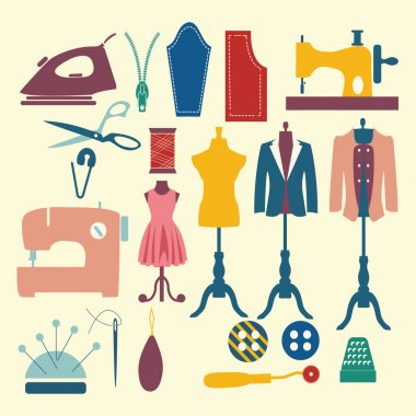 Tailor and sewing icon set Fashion Industry