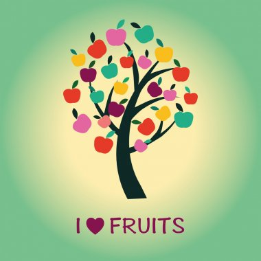 Apple Tree symbol of healthy food and fruits