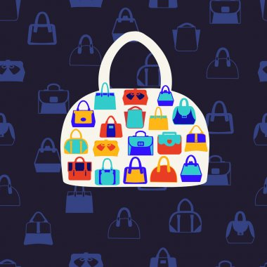 Women bags and  handbags. Fashion Pattern on dark blue backgrou