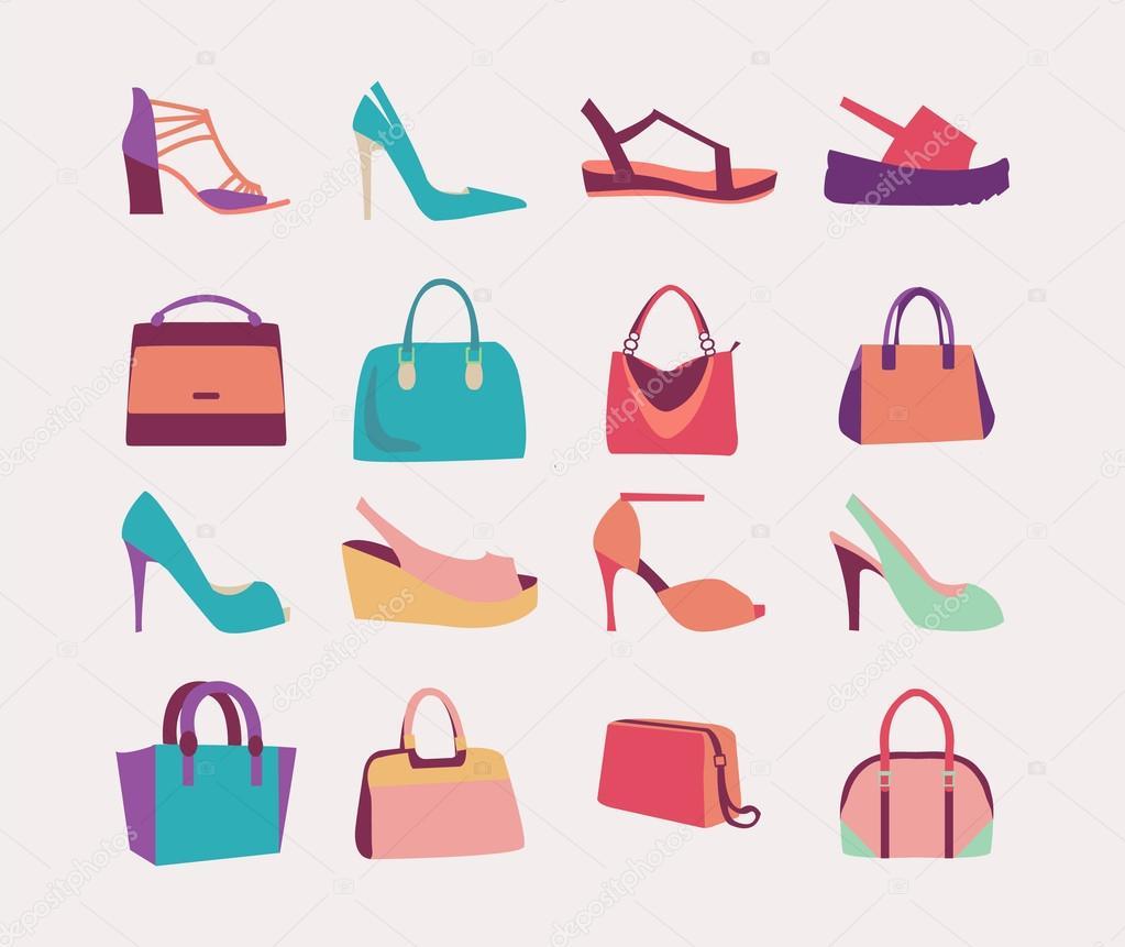Collection de vêtements femme sacs sacs à main et chaussures talons hauts  style plat — Vecteur par margolana e2d0a68b9e9a