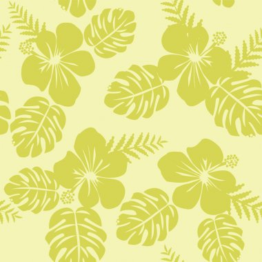 TRopical Pattern with Monstera leaves and hibiscus