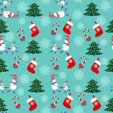 Cute Christmas Seamless Pattern Background - Illustration stock vector